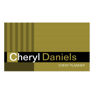 Pinstripes Monogram Initials Event Planner celery Double-Sided Standard Business Cards (Pack Of 100)