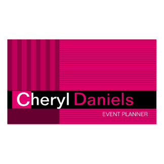 Pinstripes Monogram Initials Event Planner fuschia Double-Sided Standard Business Cards (Pack Of 100)