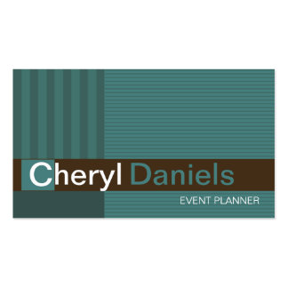 Pinstripes Monogram Initials Event Planner jade Double-Sided Standard Business Cards (Pack Of 100)