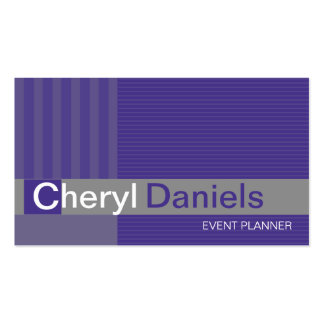 Pinstripes Monogram Initials Event Planner purple Double-Sided Standard Business Cards (Pack Of 100)