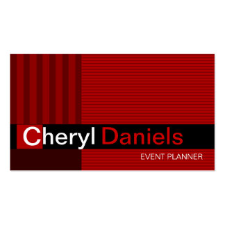 Pinstripes Monogram Initials Event Planner red Double-Sided Standard Business Cards (Pack Of 100)