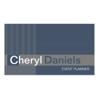 Pinstripes Monogram Initials Event Planner slate Double-Sided Standard Business Cards (Pack Of 100)