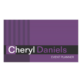 Pinstripes Monogram Initials Event Planner violet Double-Sided Standard Business Cards (Pack Of 100)