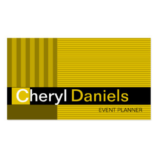 Pinstripes Monogram Initials Event Planner yellow Double-Sided Standard Business Cards (Pack Of 100)
