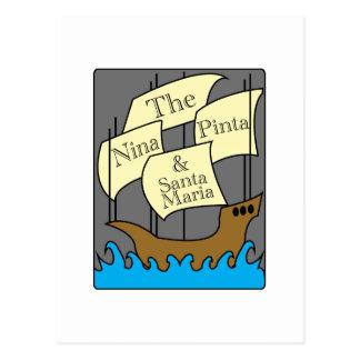 Pinta, Nina, Santa Maria Postcard