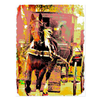 Pinto Amish Horse 8-Bit Art Postcard