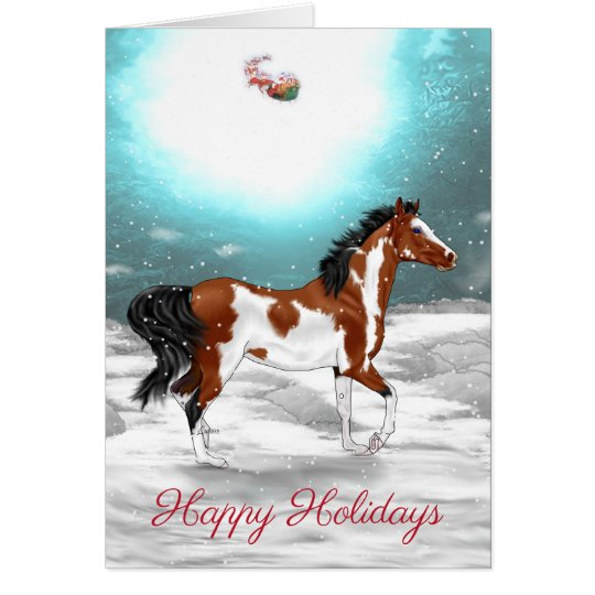 Pinto Arabian Horse Christmas Card
