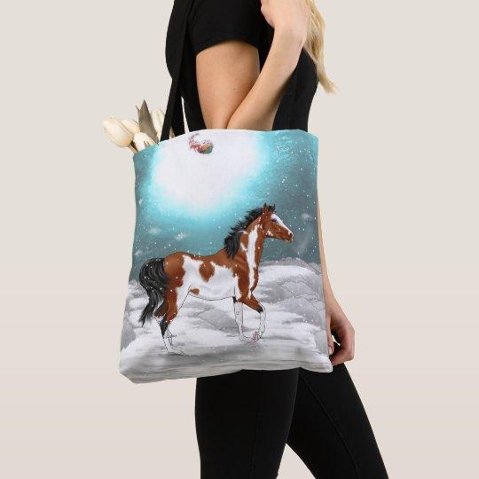Pinto Arabian Horse Christmas Tote Bag
