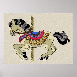 Pinto Carousel Horse Poster