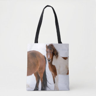 Pinto Colored Icelandic Horse Tote Bag