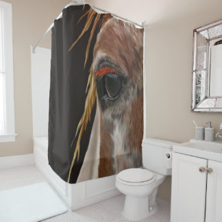 Pinto Horse Eye Horse Shower Curtain