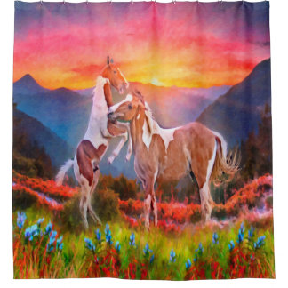 Pinto Horses in Sunset Animal Shower Curtain
