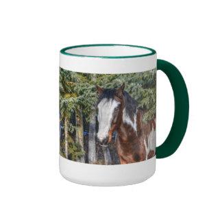 Pinto Paint Stallion & Evergreen Trees Coffee Mug