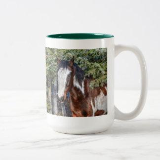 Pinto Paint Stallion & Evergreen Trees Mugs