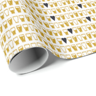 Pints and Hearts Black Wrapping Paper