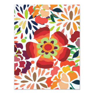 "pintura floral bonita 4.25"" x 5.5"" invitation card"