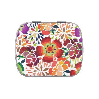pintura floral bonita jelly belly candy tins