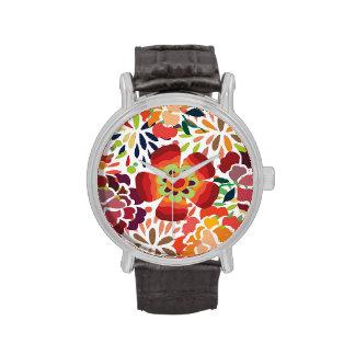 pintura floral bonita wrist watch