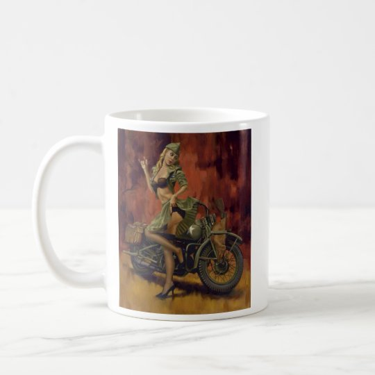PINUP GIRL AND MOTORCYCLE. COFFEE MUG