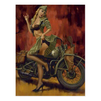 PINUP GIRL AND MOTORCYCLE. POSTCARD