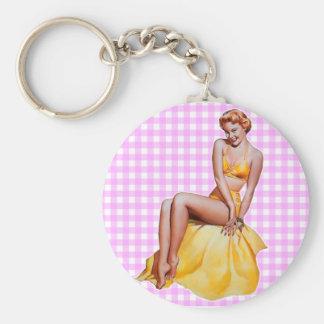 Pinup Girl Basic Round Button Key Ring