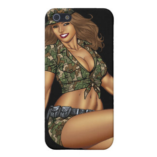 Pinup Girl in Camo by Al Rio iPhone 5/5S Case