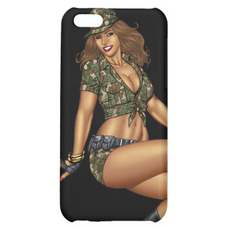Pinup Girl in Camo by Al Rio iPhone 5C Covers