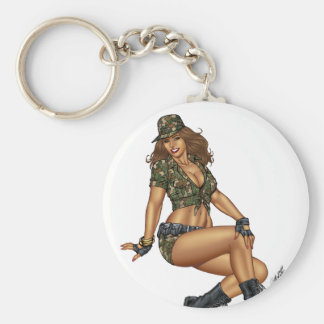 Pinup Girl in Camo by Al Rio Key Ring