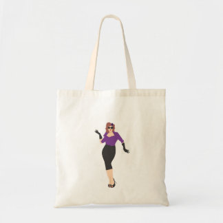 Pinup girl in purple budget tote bag