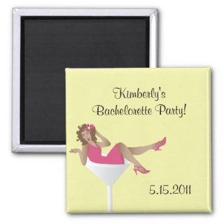 Pinup girl/martini glass bachelorette party mag... square magnet