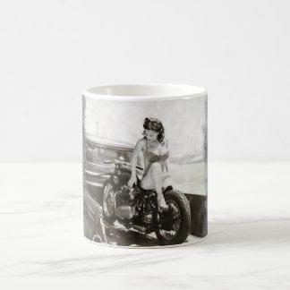 PINUP GIRL ON MOTORCYCLE. BASIC WHITE MUG