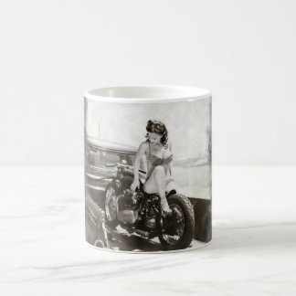 PINUP GIRL ON MOTORCYCLE. COFFEE MUG