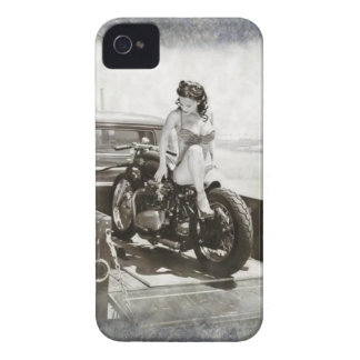 PINUP GIRL ON MOTORCYCLE. iPhone 4 Case-Mate CASES
