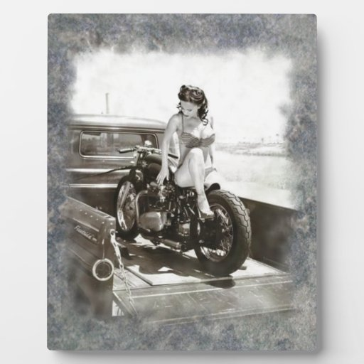 PINUP GIRL ON MOTORCYCLE PLAQUE