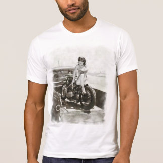 PINUP GIRL ON MOTORCYCLE. T-SHIRTS
