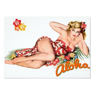 Pinup Girl Pretty, Sexy Island Blonde 13 Cm X 18 Cm Invitation Card