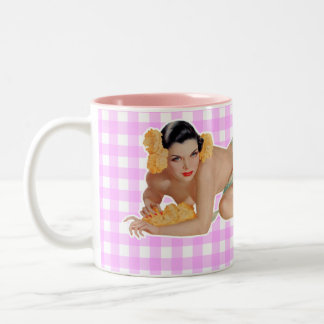 Pinup Girl Two-Tone Coffee Mug