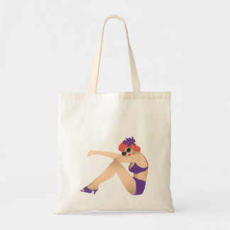 Pinup girl wearing purple swimsuit budget tote bag