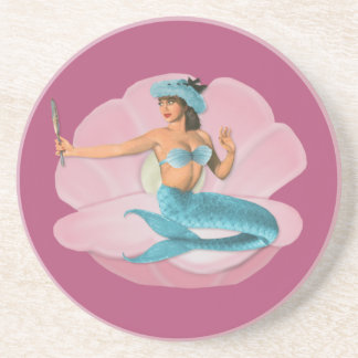Pinup mermaid coaster