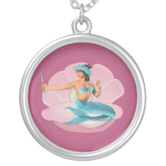 Pinup mermaid silver plated necklace