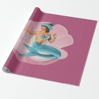 Pinup mermaid wrapping paper