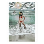 pinup with dolphin post cards