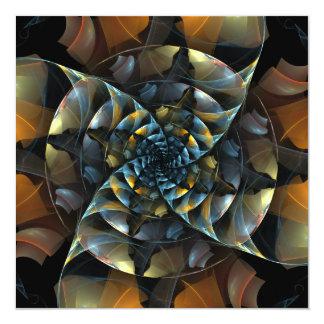"""Pinwheel Abstract Art 5.25"""" Square Invitation Card"""