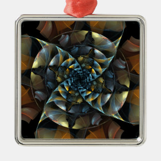 Pinwheel Abstract Art Square Silver-Colored Square Decoration