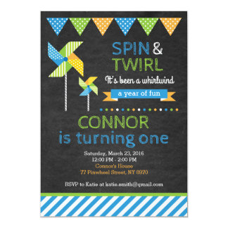 Pinwheel Birthday Invitation