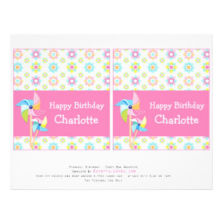 Pinwheel Birthday Party Candy Bar Wrappers 21.5 Cm X 28 Cm Flyer