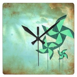 pinwheel dreams square wall clock