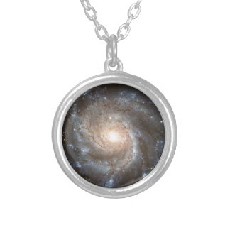 Pinwheel galaxy Hubble Telescope Outer Space Photo Silver Plated Necklace