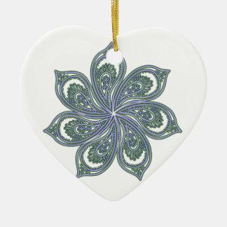 Pinwheel of Paisleys Blue Ceramic Heart Decoration