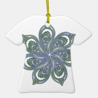 Pinwheel of Paisleys Blue Double-Sided T-Shirt Ceramic Christmas Ornament